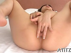 big tits asian brunette fingering solo