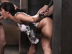 manacled chinese slut 039 fur pie entrance used asian bdsm