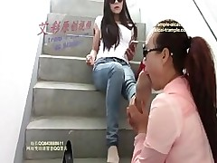 chinese foot worship girl public sniffing smelling lesbian fetish milf