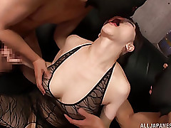 fascinating eastern milf anri okita enjoys hardcore male female blowjob