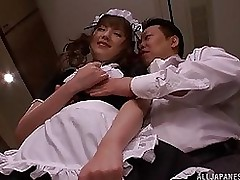 sexual japanese woman servant tsubasa amami acquires jock trip blowjob