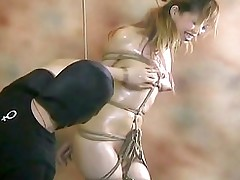 fastened purchases fondles tit buttons asian bdsm bondage hanging hd