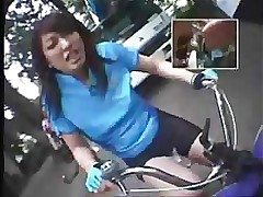 riding dildo bikes public amateur asian outdoor reality teen