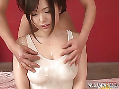 yua kuramochi sticky eastern milf shows oiled cameltoe cumshot handjob